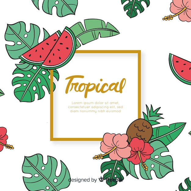 Hand drawn tropical leaves and fruits background Free Vector