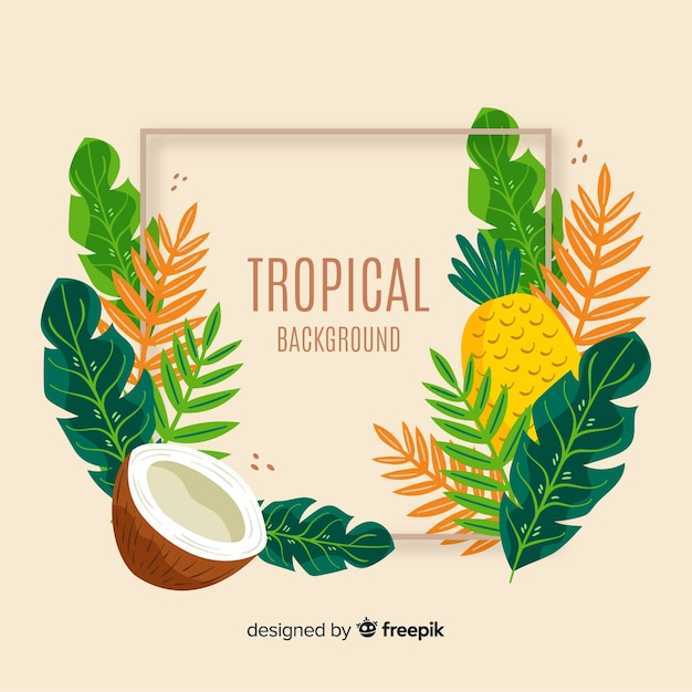 Hand drawn tropical leaves with fruit background Free Vector