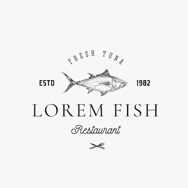 Hand drawn tuna fish with classy retro typography abstract sign, symbol or logo template. Premium Vector