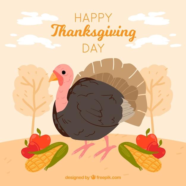 Hand drawn turkey thanksgiving\ background