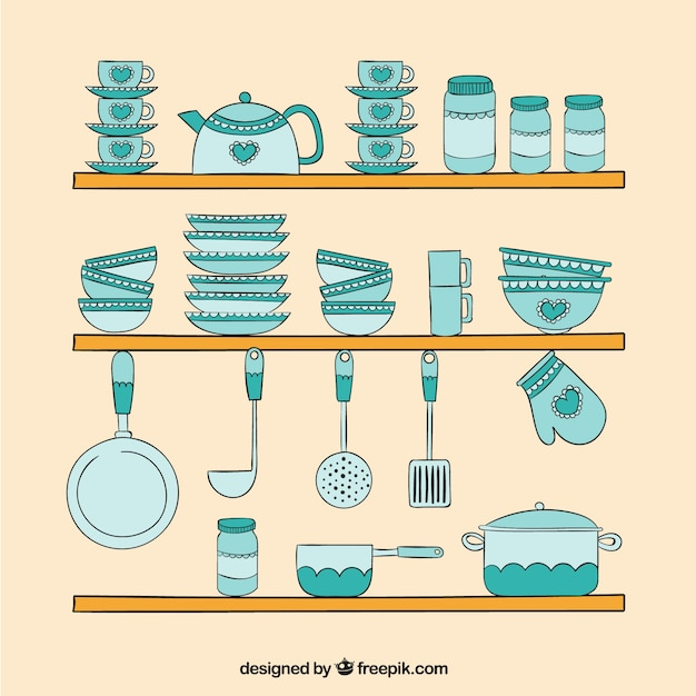 Hand drawn turquoise kitchen elements Free Vector