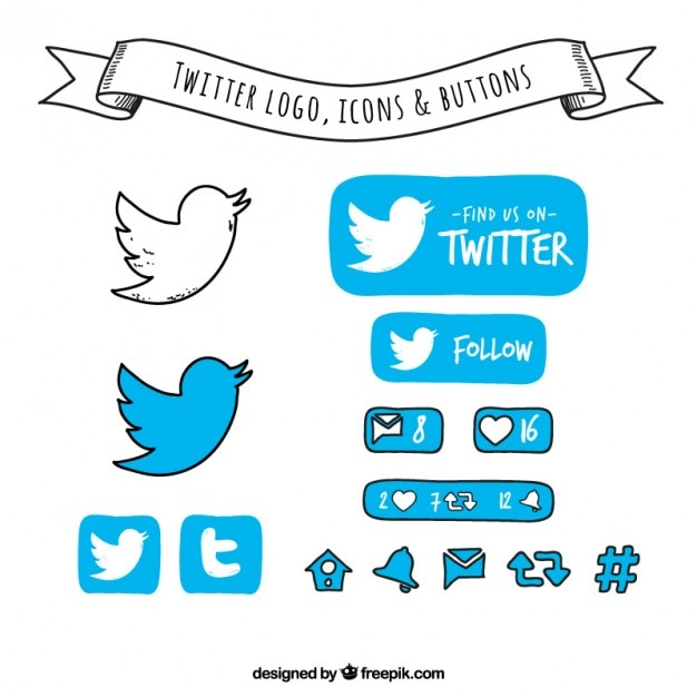 Hand drawn twitter logo, icons and buttons Free Vector