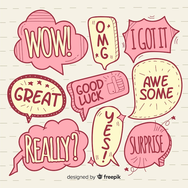 Hand drawn two colors speech bubbles Free Vector