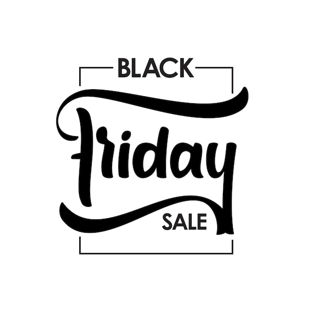 Hand drawn type lettering of black friday sale in frame Premium Vector