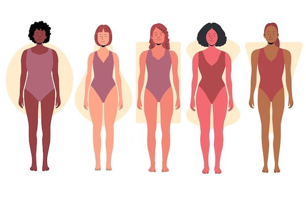 Hand drawn types of female body shapes collection Free Vector