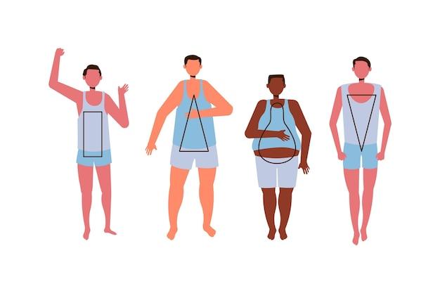 Рисованные типы мужских фигур Бесплатные векторы