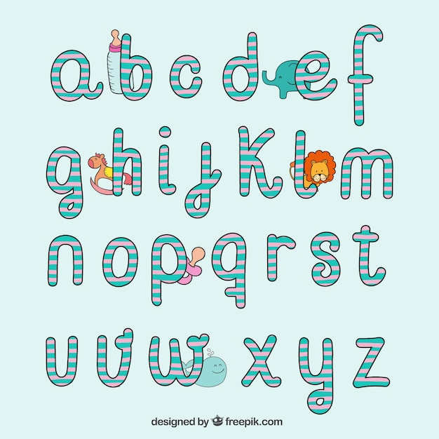 Hand Drawn Typography In Baby Style Free Vector