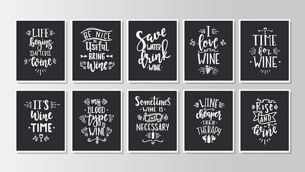 Hand drawn typography posters set. Premium Vector