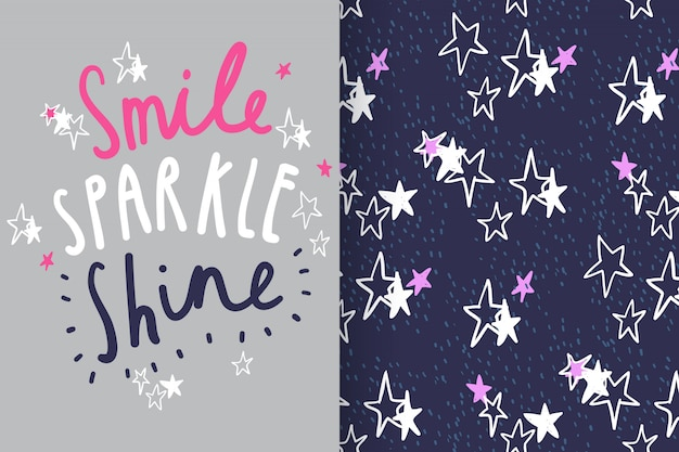 Hand drawn typography & star with pattern vector set Premium Vector
