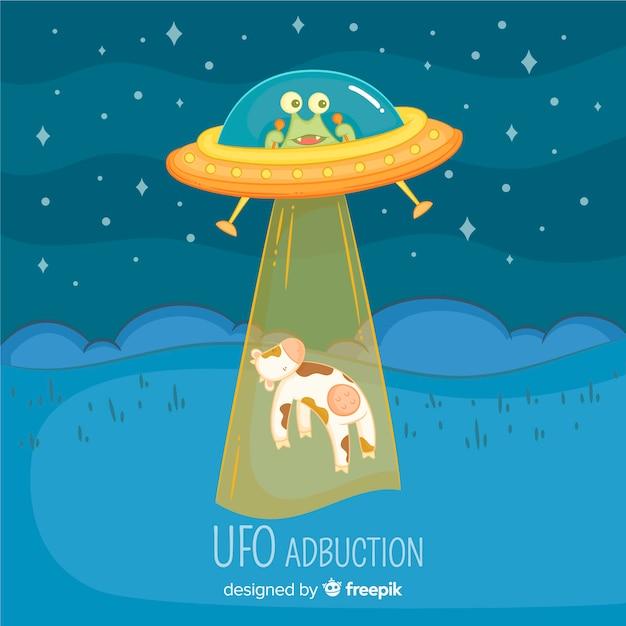 Hand drawn ufo abduction concept Free Vector