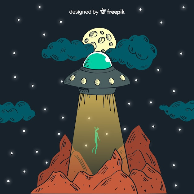 Hand drawn ufo abduction concept Free Vector