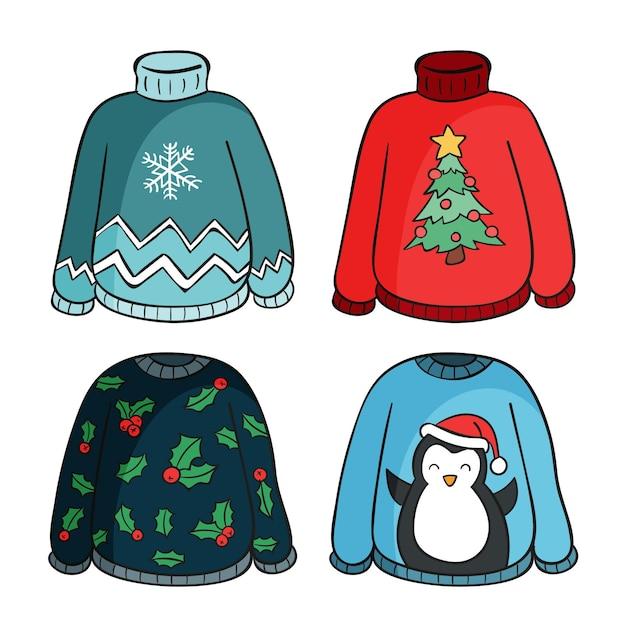 Коллекция рисованной уродливых свитеров Бесплатные векторы