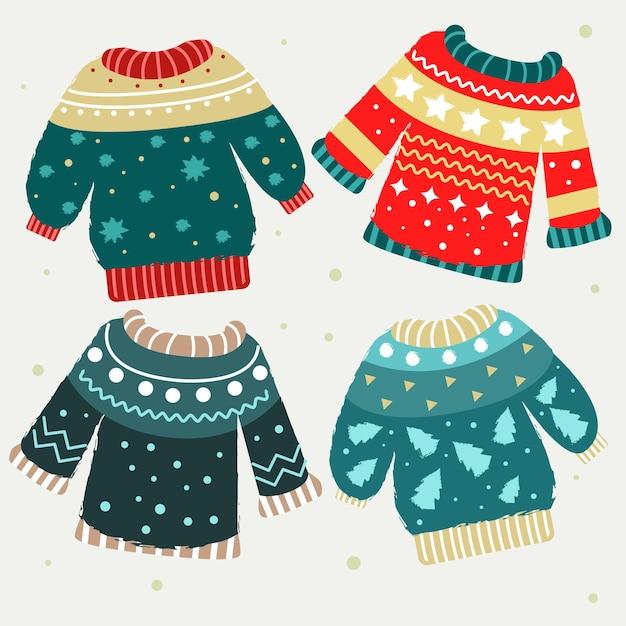 手描きの醜いセーターコレクション 無料ベクター