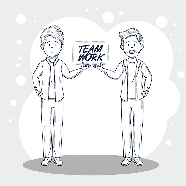 Hand drawn uncolored men and teamwork sign over gray and white background vector illustration Premium Vector