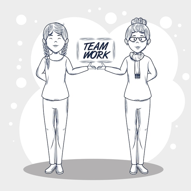 Hand drawn uncolored women and teamwork sign over gray and white background vector illustration Premium Vector