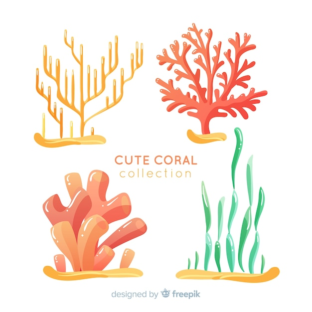 Hand drawn underwater coral collection Free Vector