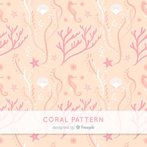 Hand drawn underwater coral pattern Free Vector