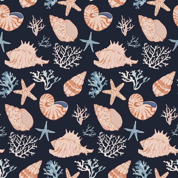 Hand drawn underwater ocean life. corals and seashells seamless pattern. Premium Vector