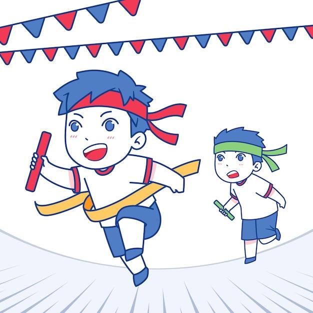 Нарисованная рукой иллюстрация ундоукай с детьми Бесплатные векторы
