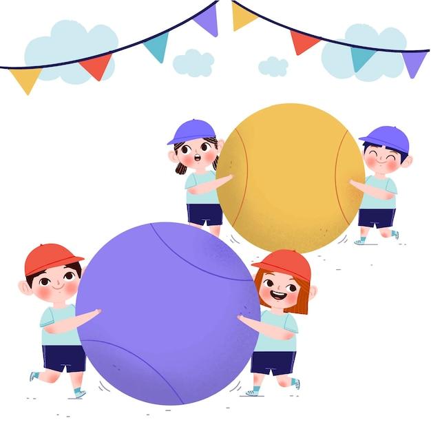 Нарисованная рукой иллюстрация ундоукай с детьми, играющими с мячами Premium векторы