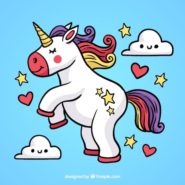 Hand drawn unicorn background Premium Vector
