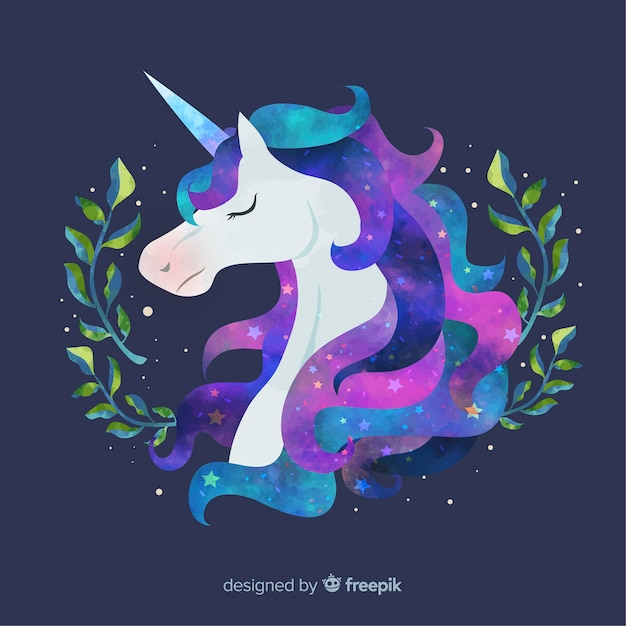 Hand drawn unicorn background Free Vector