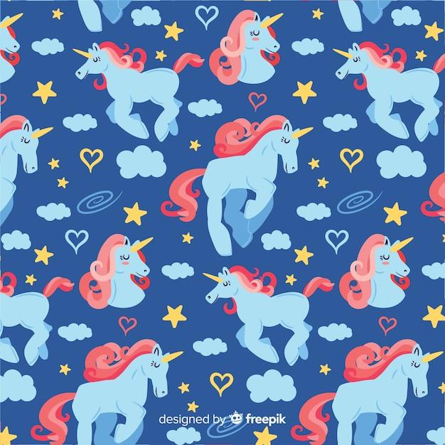 Hand drawn unicorn fantasy pattern Free Vector