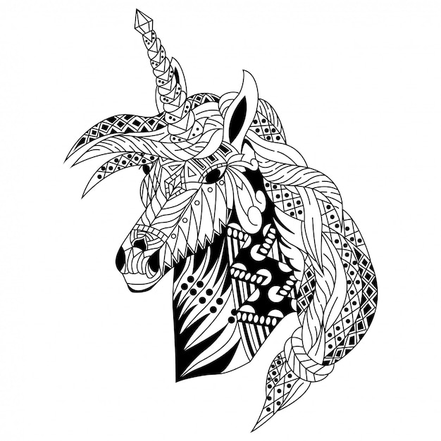 Hand drawn of unicorn head in zentangle style Premium Vector