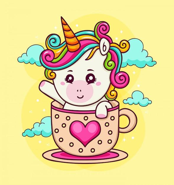 Ручной обращается единорог на любовной чашке в небе Бесплатные векторы