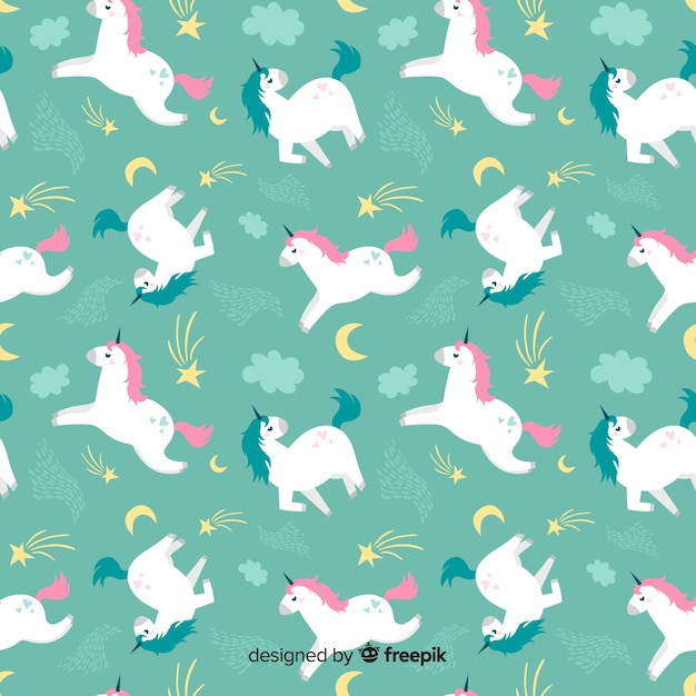Hand drawn unicorn pattern Free Vector