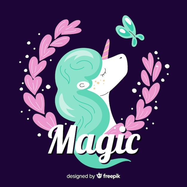 Hand drawn unicorn with leaves and a butterfly Free Vector
