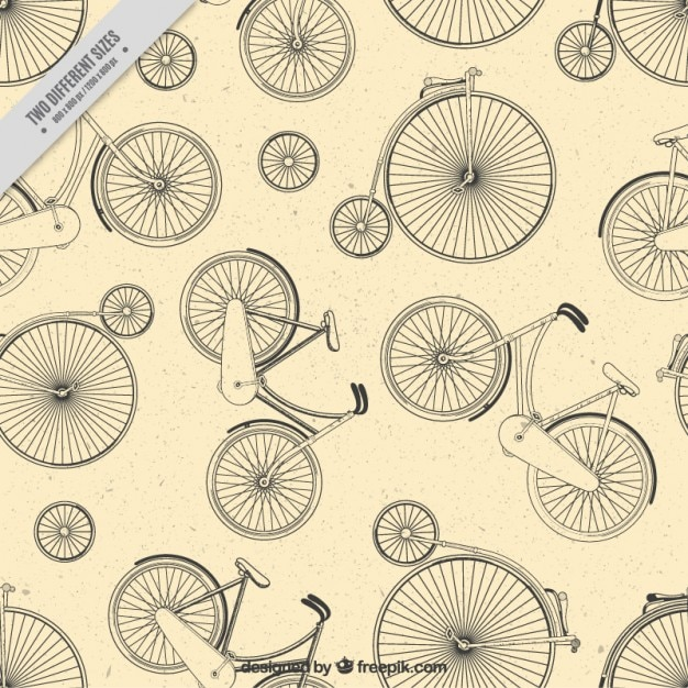 Hand drawn unicycle and bicycle\ background