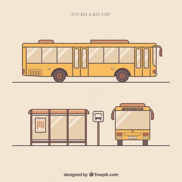 손으로 그린 도시 버스 및 버스 정류장 무료 벡터