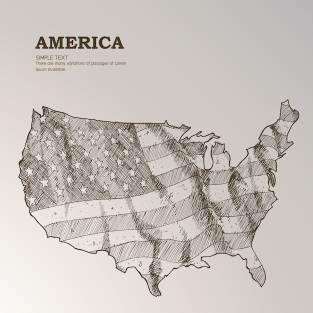 Hand Drawn Us Map.Hand Drawn Us Map With American Flag Vector Free Download
