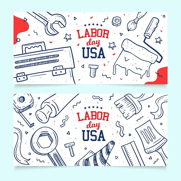 Hand drawn usa labour day Free Vector