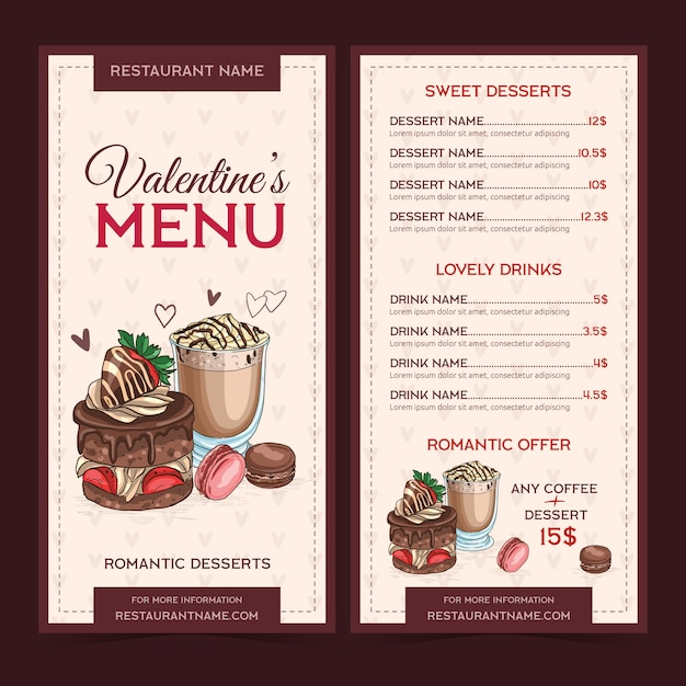 Hand-drawn valentiens day menu template Free Vector