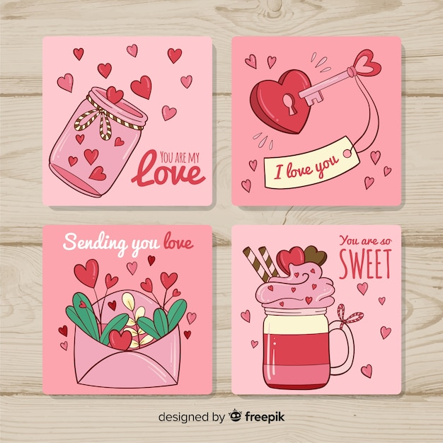 Hand drawn valentine card collection Free Vector