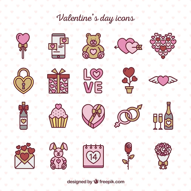 Hand drawn valentine day cute icons pack Free Vector