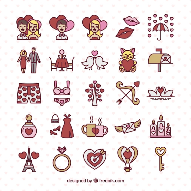 Hand drawn valentine day icons pack Free Vector