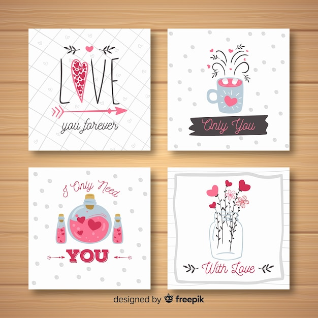 Hand drawn valentine elements card collection Free Vector