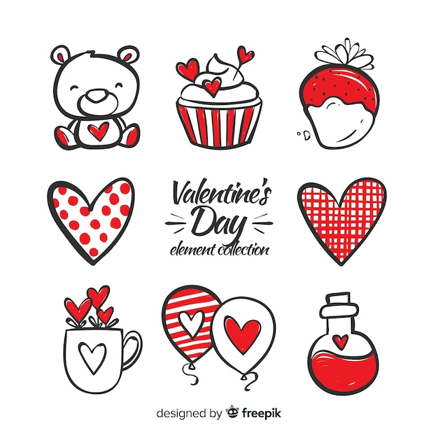 Hand drawn valentine elements pack Free Vector