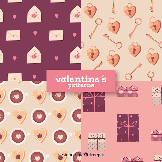 Hand drawn valentine elements pattern collection Free Vector