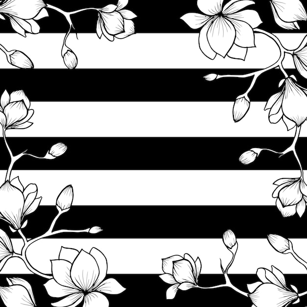 Hand Drawn Valentine Floral Background With Stripes Vector Premium