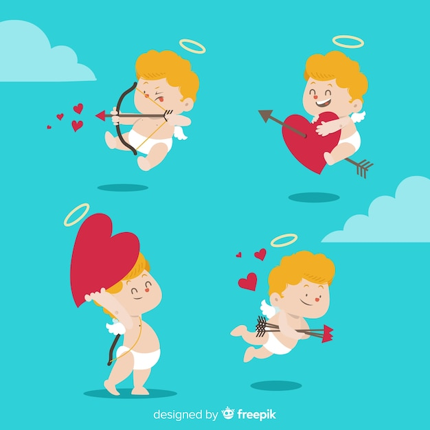 Hand drawn valentine's day angel pack Free Vector