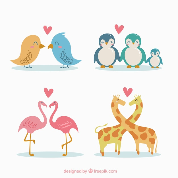 Hand drawn valentine\'s day animal couple\ collection