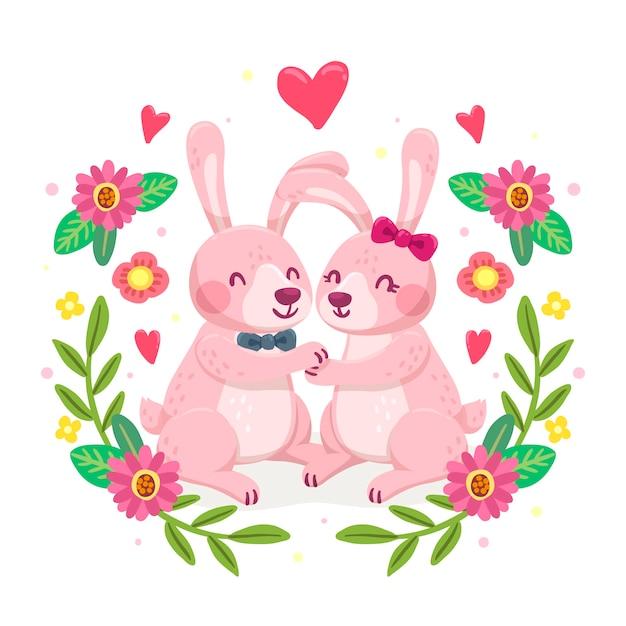 Hand drawn valentine's day animal couple Free Vector