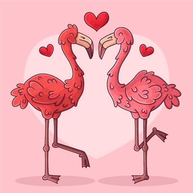 Нарисованная рукой пара животных дня святого валентина Бесплатные векторы