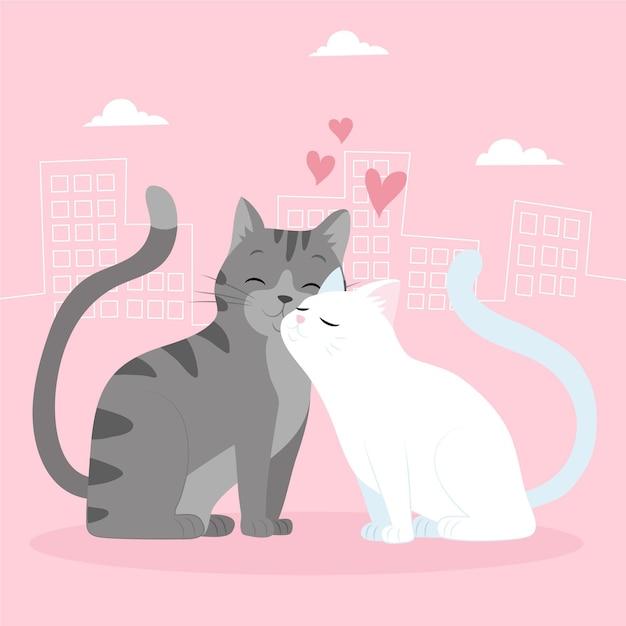 손으로 그린 발렌타인 동물 커플 무료 벡터