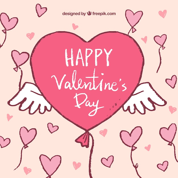 Hand Drawn Valentine S Day Background With Heart Shape Balloons