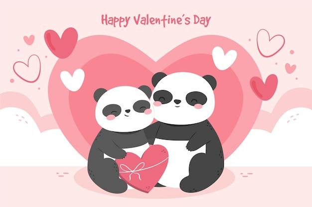 손으로 그린 팬더 커플 발렌타인 배경 무료 벡터